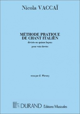 Methode Pratique De Chant Italien Soprano Piano N. Vaccaj Ed. Durand